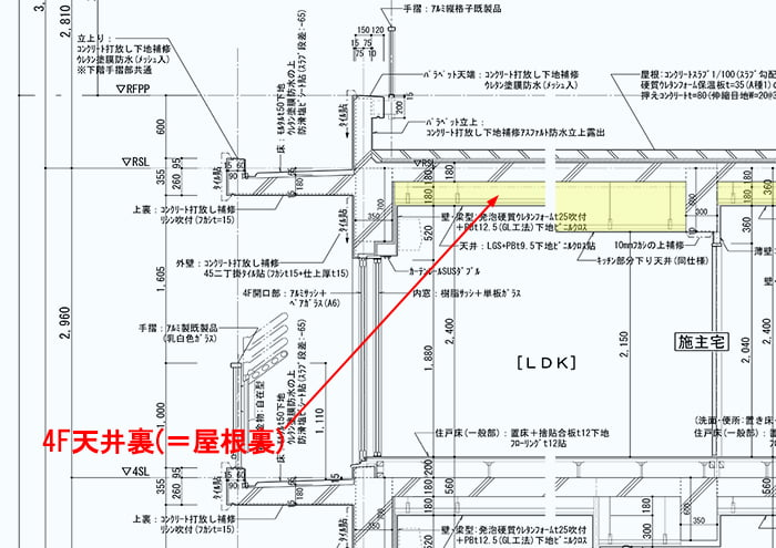RC造最上階天井裏(屋根裏)の構造例:矩計図4階部分抜粋の天井裏範囲を矢視した解説用図面画像