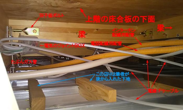 木造各階天井裏の写真1:木造1階天井裏構造例1を撮影した写真画像にコメントを入れた解説画像