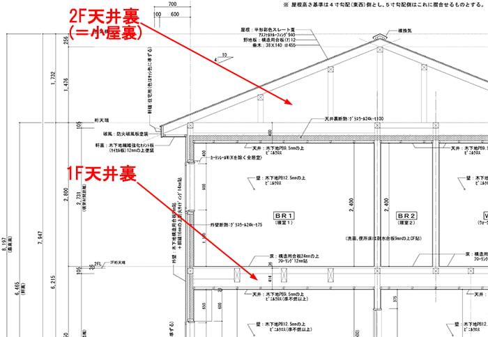 小屋裏を図示した2F建て木造の矩計スケッチ(2F部分抜粋)図面画像 ※天井裏と屋根裏の違い、屋根裏と小屋裏の違い、天井裏と小屋裏の違い解説用画像6