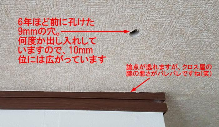 天井裏を除いた後、塞ごうとしている穴の外観を撮影した写真画像