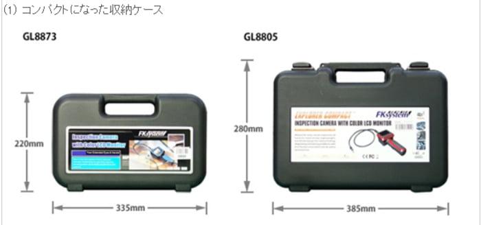 GL8873ケースの旧品番との比較をした解説入り写真画像(FKシステムさんサイトから引用)