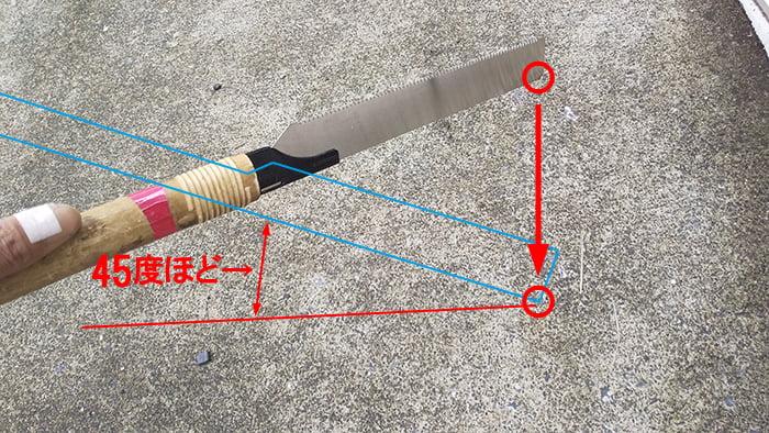 デコラソー240から既存ノコ刃の打ち付けイメージ写真に解説用コメントを入れた写真画像 ※ノコ刃(鋸刃)交換解説用