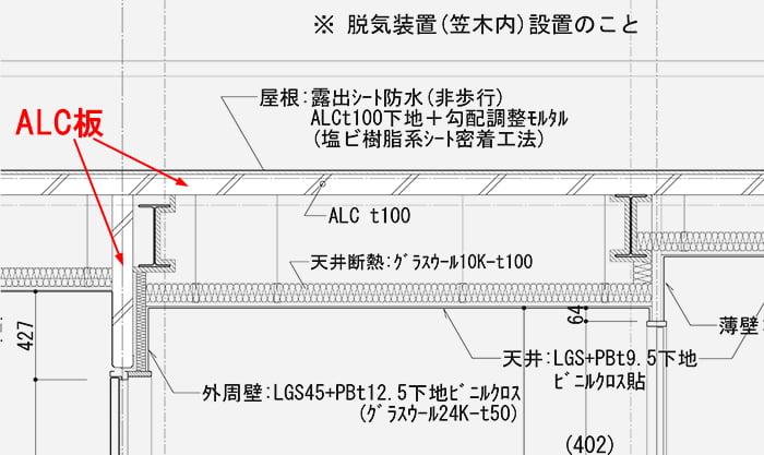 S造最上階天井裏の構造例拡大:矩計図4階天井裏部分抜粋の天井裏範囲に係る部分のALC部材を矢視した解説用図面画像