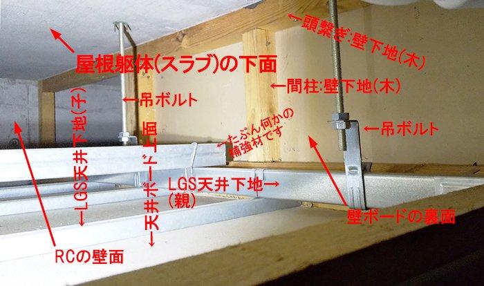 RC造最上階天井裏(屋根裏)の写真:RC造4階天井裏構造例を撮影した写真画像にコメントを入れた解説画像