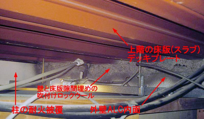 鉄骨造(S造)の各階天井裏の構造①を撮影した写真画像にコメントを入れた解説画像