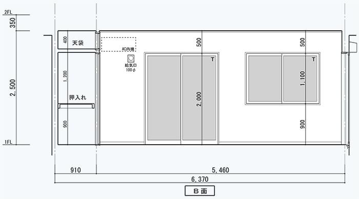 腰窓解説用に、とあるお宅の展開図を改変した「掃出し窓」と「腰窓」を表現した図面画像
