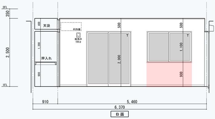 前掲の展開図に腰窓に係る腰壁の範囲を図示した図面画像