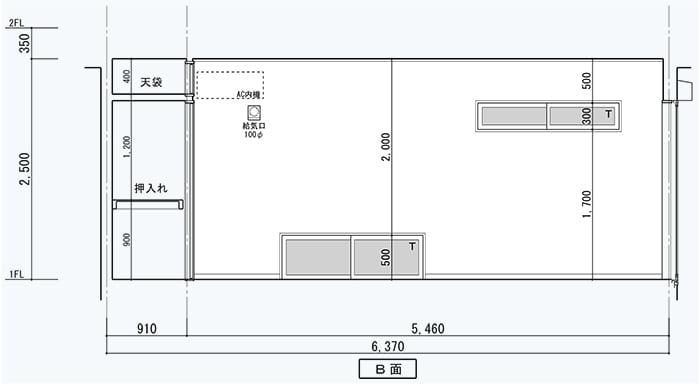 腰窓解説用に、とあるお宅の展開図を改変した図面画像3(地窓と高窓のある面)