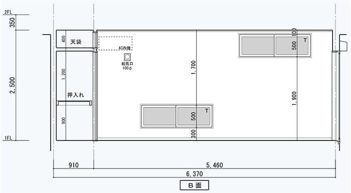 腰窓解説用に、とあるお宅の展開図を改変した図面画像4(微妙な地窓と高窓のある面)