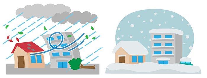 挿絵:風災と雪災をイメージさせるイラスト画像