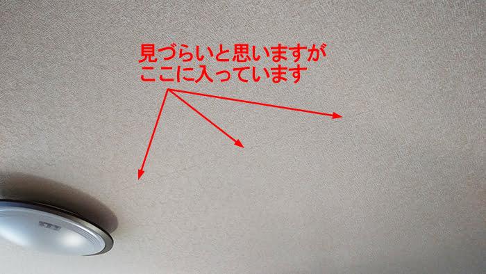 天井の壁紙のひび割れ(天井クロスのひび割れ)を撮影したコメント入り写真画像1:遠景