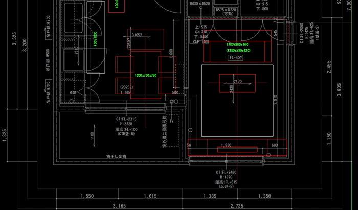 CAD上での家具配置の検討イメージのスクリーンショット画像 ※建売で後悔しないための注意点「4条」解説画像7