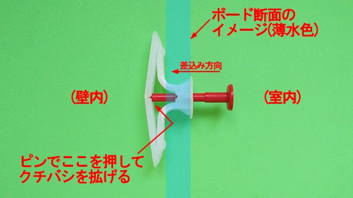 ボードアンカー:トグラー(トグラーアンカー)のクチバシ開き具合とピンの関係詳細を撮影した解説用コメント入り写真画像2
