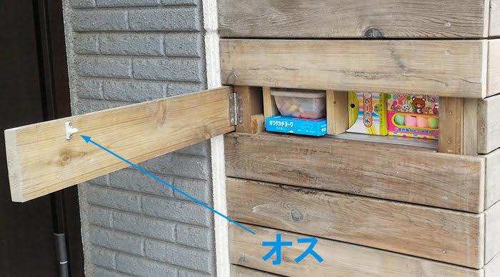 子供グッズ物入の玄関脇隠し扉内のジュラコンキャッチ(オス)位置を撮影したコメント入り写真画像