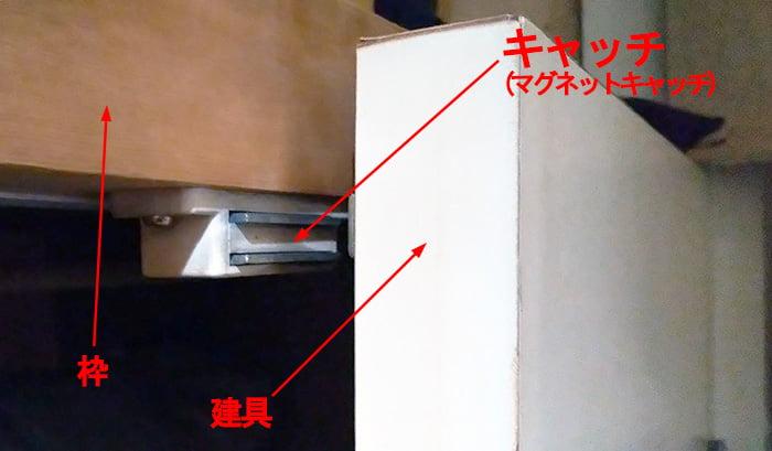キャッチの例:収納扉に付いたマグネットキャッチを撮影したコメント入り写真画像