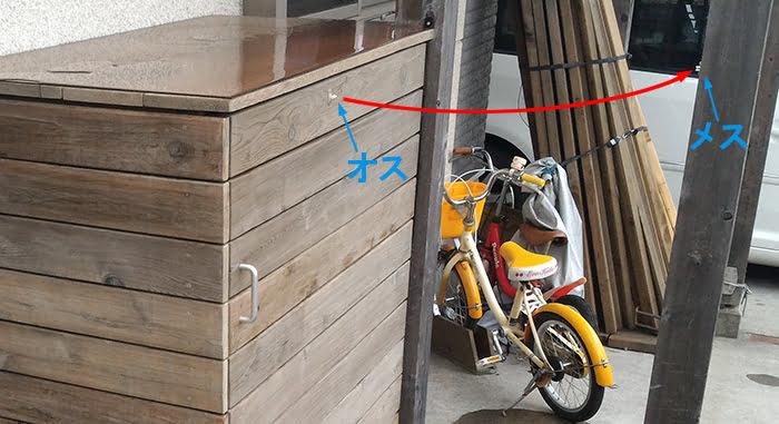 子供グッズ物入を撮影した写真にジュラコンキャッチ位置とドア軌跡を図示したコメント入り写真画像