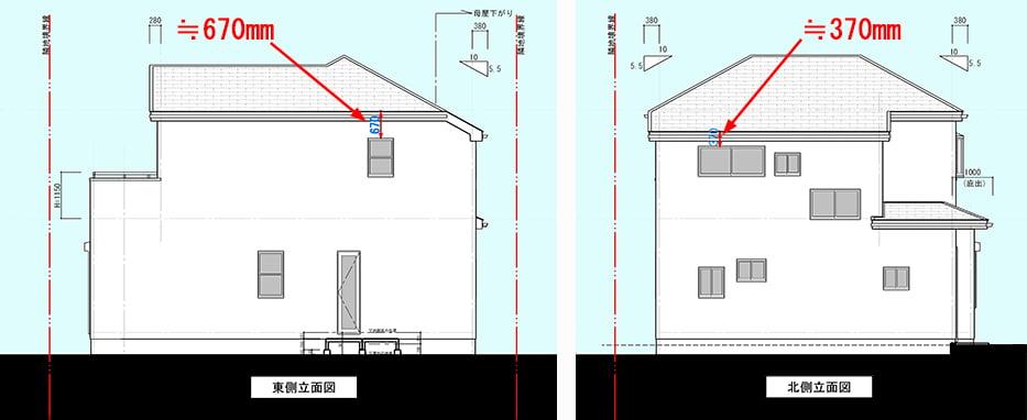 筆者の建売マイホームの東側と北側の立面図に解説コメントを書き込んだスケッチ画像 ※窓から自分で行う屋根点検の方法解説画像2