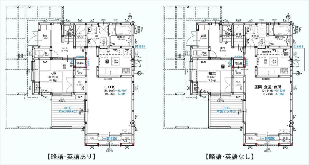 筆者の建売マイホームの当初リフォームの建築1F平面図で略語・英語表記の有無による表現の違いを表現したスケッチ画像