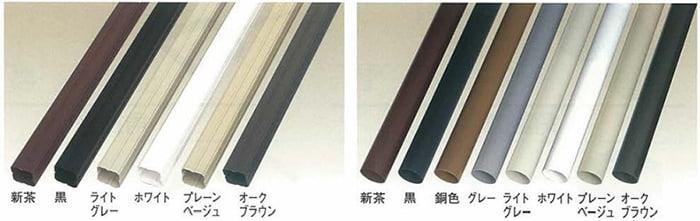 旧ダイカポリマー雨樋カタログから引用したダイカ雨とい「竪樋」の色の種類(色バリエーション)のカタログ写真画像