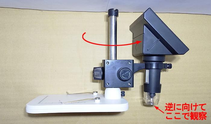 タカラダニ(小さい赤い虫)の動画の撮影で活躍したデジタル顕微鏡DM3の外観を撮影したコメント入り写真画像③鏡筒とモニターを反対向きにしている写真画像