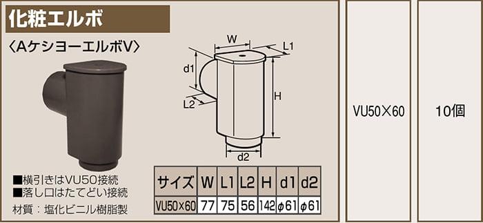 タキロンさんWEBカタログ内製品情報一覧ページより引用した化粧エルボ姿図部分の拡大
