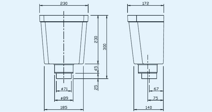 積水化学さんサイト当該ページよりダウンロードした承認図PDFより引用した形状詳細を拡大した詳細図面画像