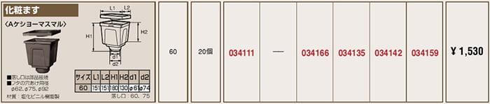 タキロンさんWEBカタログ製品情報一覧ページより引用した角ます系(化粧ます)の製品情報