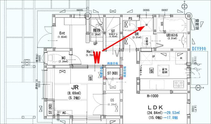 略語「W」表記の例:筆者の建売マイホーム1F図面英語表記あり版の建築図面平面図からの抜粋図面画像