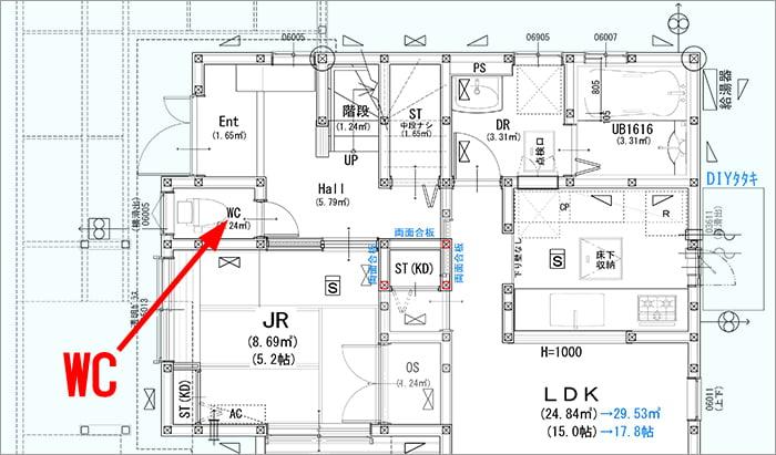 略語「WC」表記の例:(筆者の建売マイホーム1F図面英語表記あり版の抜粋建築図面平面図画像