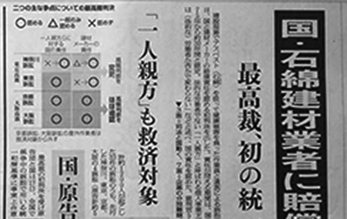 著作権の関係で敢えて解像度を落としている、21年5/18、朝日新聞の朝刊抜粋:石綿訴訟の最高裁判決記事1