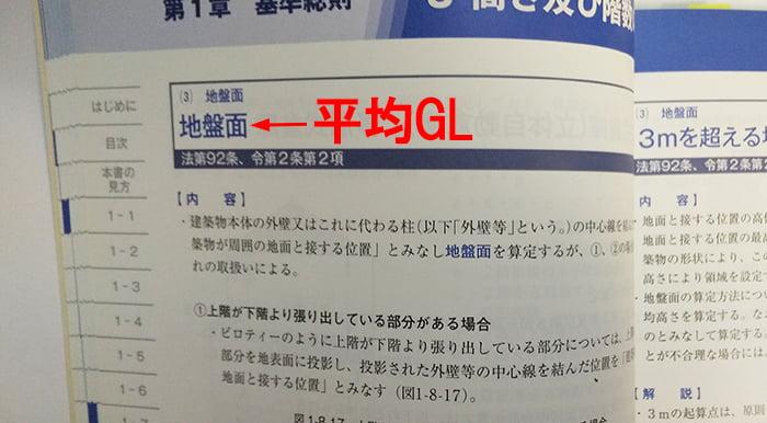 建築確認のための基準総則・集団規定の適用事例の「平均GL(地盤面)」解説ページをカメラで撮影したコメント入り写真画像