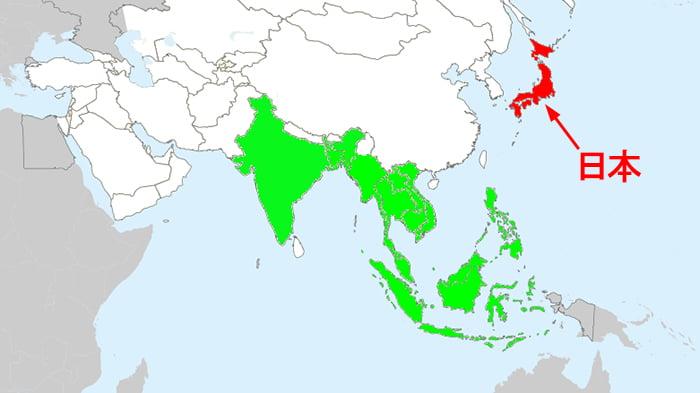 アミメニシキヘビの生息地分布 (Wikipediaさん当該ページより引用)を示した解説コメント入り地図画像 ※アミメニシキヘビはいつ、どこから屋根裏に戻った?検証&解説画像09