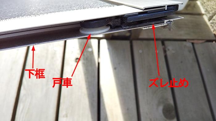 外から見て網戸右下の戸車とズレ止めを撮影したコメント入り写真画像 ※すぐ外れる網戸の直し方(修理)解説画像04