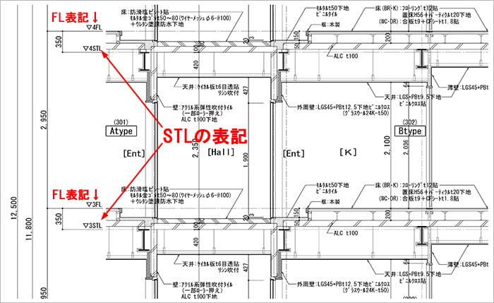 略語STL表記例:とあるS造アパートの矩計図抜粋 ※建築図面(立面図・断面図系)略語の解説用の抜粋図面画像11