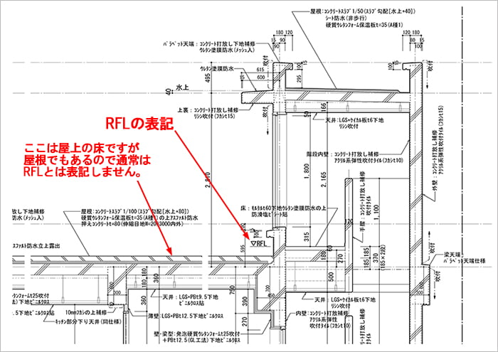 略語RFL表記例:とあるRC造アパートの矩計図抜粋1 ※建築図面(立面図・断面図系)略語の解説用の抜粋図面画像04