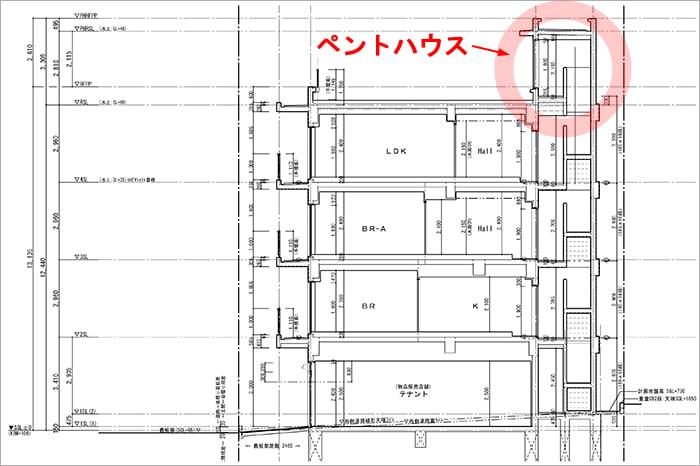 略語PH表記例:とあるRC造アパートの断面図 ※建築図面(立面図・断面図系)略語の解説用の抜粋図面画像10