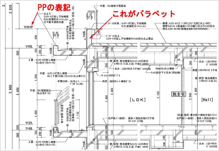 略語PLorPP表記例:とあるRC造アパートの矩計図抜粋4 ※建築図面(立面図・断面図系)略語の解説用の抜粋図面画像08