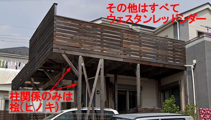 筆者の建売マイホームのウッドデッキを撮影した写真画像に使用している材種を記載したまとめ画像