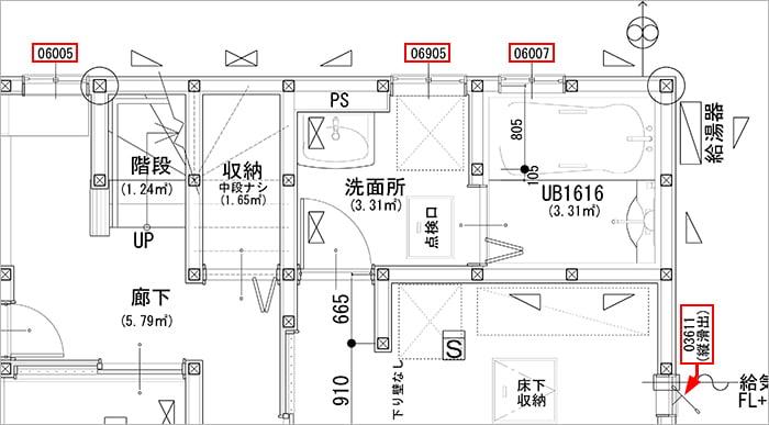 筆者の建売マイホームの平面図に見られる窓記号(窓符号?)の一部を抜粋した解説コメント入り平面図抜粋画像2