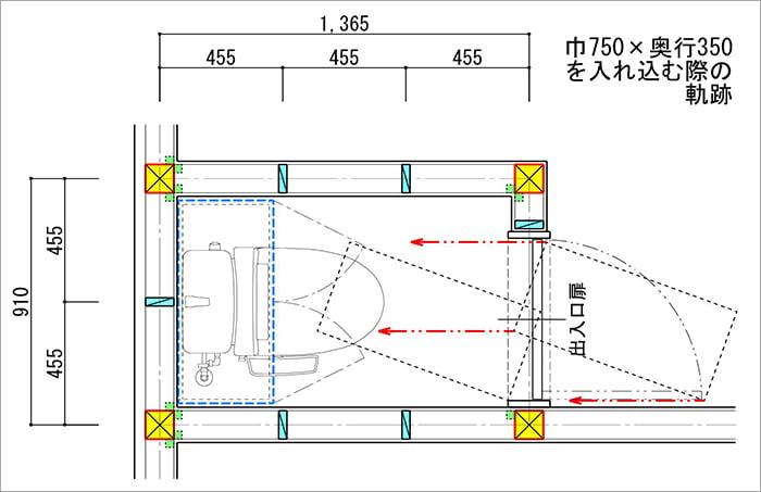 縦入りトイレに750✕350の吊り戸棚を入れ込むイメージを図示した平面スケッチ画像 (巾3尺✕奥行4.5尺の縦入りトイレ)