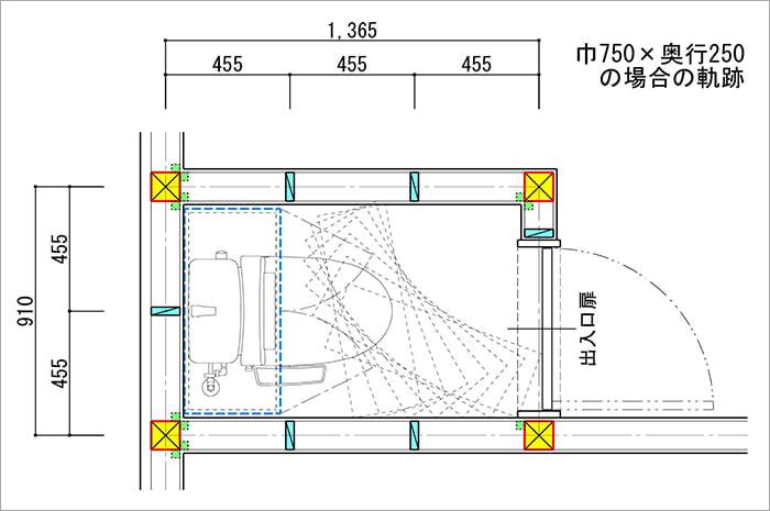 トイレ内での吊り戸棚の回転シュミレーションを示した平面スケッチ画像03 (巾750✕奥行250の場合)