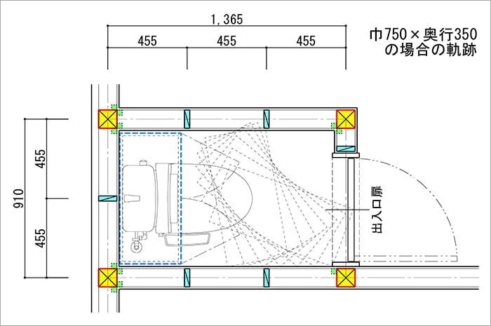 トイレ内での吊り戸棚の回転シュミレーションを示した平面スケッチ画像01 (巾750✕奥行350の場合)