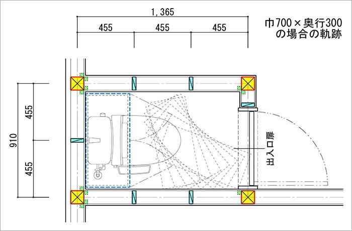 トイレ内での吊り戸棚の回転シュミレーションを示した平面スケッチ画像04 (巾700✕奥行300の場合)