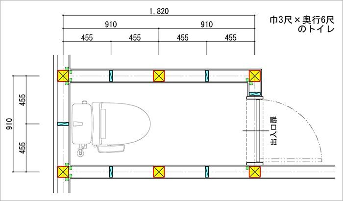 750巾の吊り戸棚の後付けが難しい、最低限サイズではない縦入りトイレを図示したトイレ平面スケッチ画像 (巾3尺✕奥行6尺の縦入りトイレ)