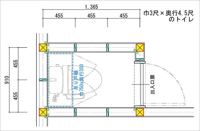 最低限のサイズの縦入りトイレの750巾の吊り戸棚計画例を示した平面スケッチ画像 (巾3尺✕奥行4.5尺の縦入りトイレ)