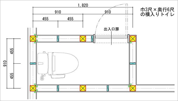 750巾の吊り戸棚も後付けできる、最低限サイズではない縦入りトイレ平面スケッチ画像 (巾3尺✕奥行6尺の縦入りトイレ)