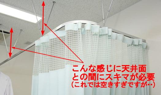 天井との隙間の取れる特殊なカーテンレールとカーテンの例(とある病室を撮影したコメント入り写真画像) ※エアコンの風が直接当たらない方法の解説画像