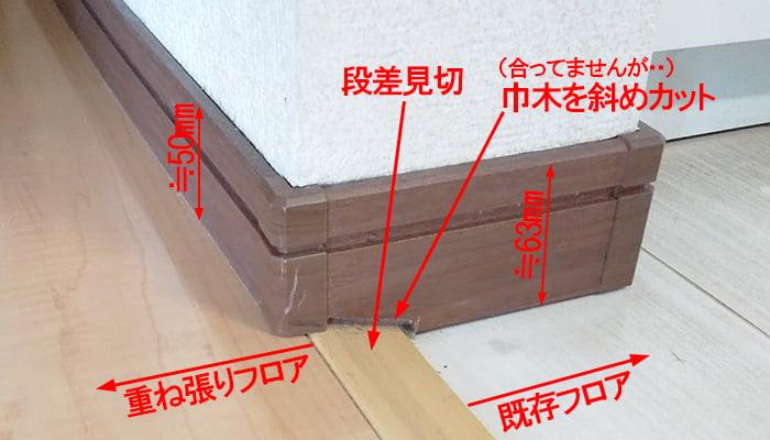 フローリングの重ね張りと、巾木&段差見切りの関係を撮影したコメント入り写真画像01
