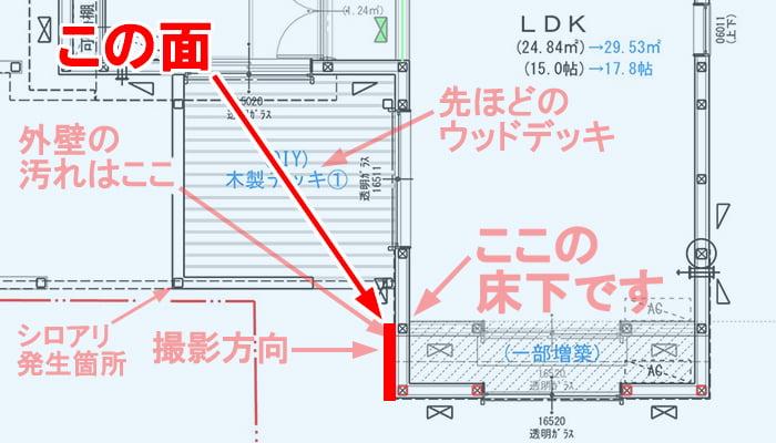 雨漏り修理(DIY外壁塗装)をする外壁の塗装範囲を図示した解説コメント入りスケッチ画像