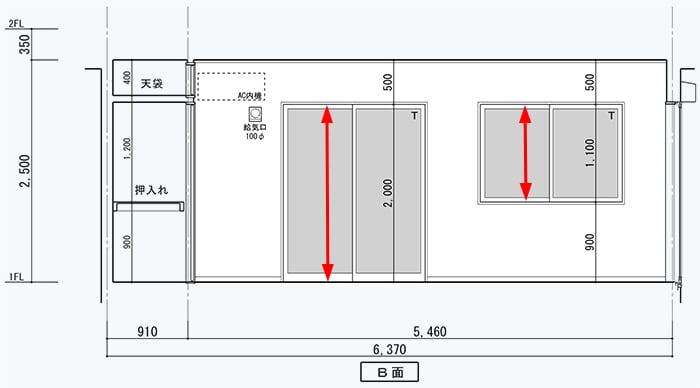 窓(サッシ)の内法寸法の例(展開図):縦方向(高さ)